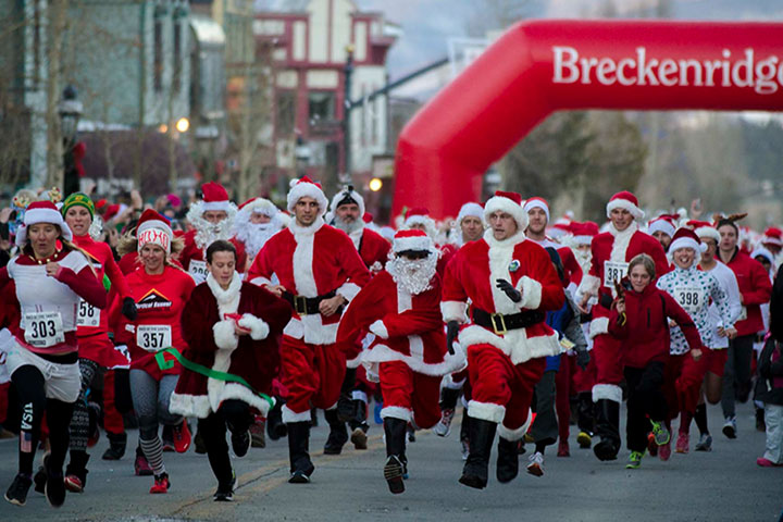 Over 500 Santas run (walk) for the prize at the Race of the Santas. Bring the kids for some Christmas magic.