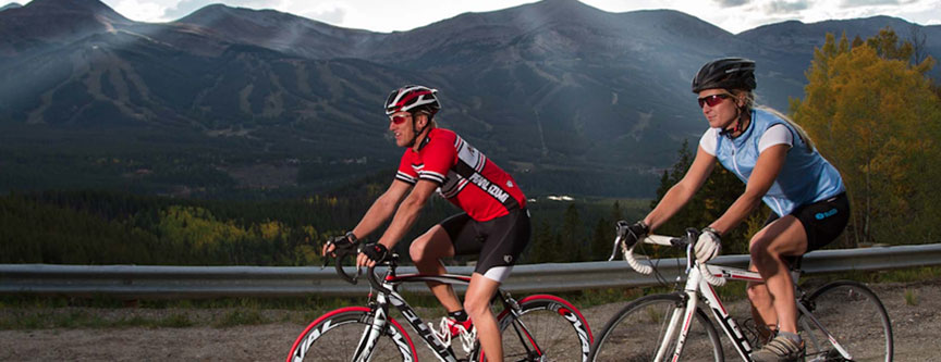 Friends enjoying the spectacular summer weather at Breckenridge while riding their bikes on the trail.