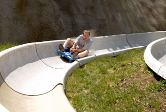 Riding the alpine slide at Breckenridge Ski Resort. Summer fun takes over when the snow melts.